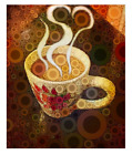 Giclee Fine Art Prints Coffee Cup Java Heart Yellow Brown Original Painting beig
