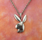 Playboy Bunny Necklace on Rolo Chain, Play Boy Charm Pendant Playboi Symbol Gift image