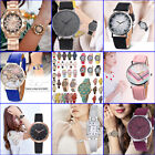 Women's Fashion Gift Stainless Steel/Leather Band Analog Quartz Wristwatch Watch image