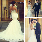 Latest White Mermaid Wedding Dressed Lace-Up Sweetheart Lace Bridal Gown Custom