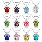 12 Months Necklace Paw Birth Stone Pendant Necklace Crystal Claw Animal Jewelry