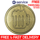 GOLD BEER EMBOSSED PLASTIC TOKENS 29mm CHRISTMAS CELEBRATION EVENT NEW YEAR XMAS