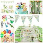 Dinosaur Party Decorations Set Kids Birthday Favor Green Tableware Banner Cup