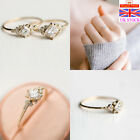 925 Sterling Silver Plated Women Rose Gold Zircon Rings Wedding Jewelry Gifts