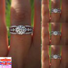 Uk Women 925 Sterling Silver Plated Zircon Ring Wedding Jewelry Engagement Gifts
