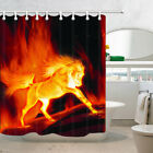 Fantasy Fire Horse Animal Fabric Shower Curtain Bathroom Waterproof & 12 Hooks