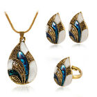 Three-piece Drip Rhinestone Necklace Antique Earrings Woman Ring Jewelry Set