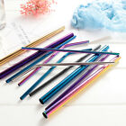 5x Stainless Steel Drinking Metal Straw Reusable Bar Straws With Cleaner Brush~