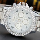 Lady Girl Double Ring Six Stitches Grind Arenaceous Diamond Alloy Bracelet Watch image