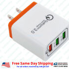 Fast Charge QC 3.0 30W 3-Port USB Wall Quick Charger Adapter for iPhone Samsung