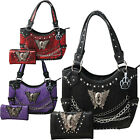 Sugar Skull Tote Wings Roses Chains Purse Concealed Carry Handbag Wallet  image