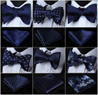 21 Style Mens Blue Self Bow Tie Pocket Square Set Woven Silk Plaid Wedding $10.6 CAD on eBay