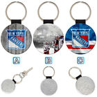 New York Rangers Leather Glitter Key Chain Ring Gift Silver Car $3.99 USD on eBay