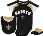 New Orleans Saints 3pc Creeper Bib Booties Set Infant Baby Black $15.0 USD on eBay