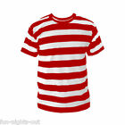 Mens Black White Red Striped Stripe Stripey T-shirt Fancy Dress Colours S-XL