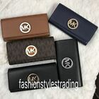 New Michael Kors MK Fulton Flap Continental Wallet Clutch Signature Or Leather  image