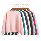 Fashion Women Casual Pullover Hoodie Solid Color Plain Sweatshirt Long Sleeve