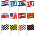 "Car Dealer Window Flags You Pick From 12 Designs Flag Is 12"" x 18"" Clip On"