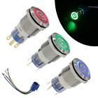 19mm 12V LED Power Symbol ON OFF Car Push Button Switch Latch Metal US SHIPPING