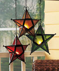 Внешний вид - Hanging Star Tea Light Candle holder 5 Pointed Gold Green Red Stained Glass Look