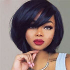 Full Wig Brazilian Remy Human Hair Wigs With Bangs Short Straight Bob Off Black