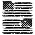 Set of 2 Black Distressed Tattered USA American Flag Decal Stickers