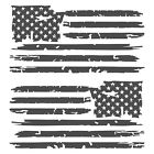 Set of 2 Dark Grey Distressed Tattered USA American Flag Decal Stickers