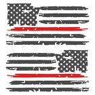 Set of 2 Dark Grey Thin Red Line Distressed USA American Flag Decal Stickers