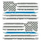 Set of 2 Middle Grey Thin Light Blue Line Distressed USA Flag Decal Stickers