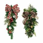 Red/Gold Bowknot Christmas Door Wreaths Garlands Xmas Home Ornaments Hang Decor