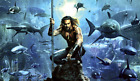 DC AQUAMAN WITH SHARKS POSTER PRINT VINYL WALL STICKER VARIOUS SIZES