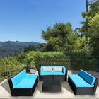 7pc Patio Rattan Wicker Sofa Table Outdoor Garden Sectional Furniture Set Blue
