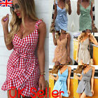 UK Womens Holiday Strappy Mini Dresses Ladies Summer Beach Plaid Sun Dress Skrit
