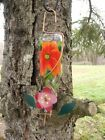 Glass Hummingbird Feeder Hand Painted With Copper Drinking Tube