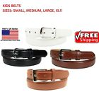 Внешний вид - KIDS CHILDREN STITCHED LEATHER BELT Silver Belt Buckle Boys Sizes S - XL