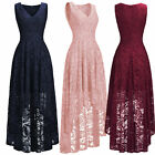 High Low V Neck Lace Evening Party Dresses Sleeveless Wedding Bridesmaid Gowns