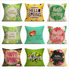 Floral Spring Cotton Throw Pillow Case Sofa Waist Cushion Cover Car Home Decor image