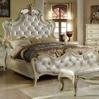 French Victorian Hardwood Mirror Tufted Affordable Bedroom Set King Cal Queen