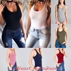 Women's Basic Cotton Blend Scoop Neck Sleeveless Layering Bodysuit Top Tank