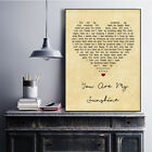 You Are My Sunshine Vintage Heart Song Lyric Quote Print