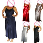 Women Long Sexy Nightwear Faux Silk Satin Night Dress Sleepwear Nightgown S- 4XL