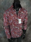 NWT Mens COOGI LUXE Button Dress Shirt Rich Burgundy with Paisley's & Black Trim