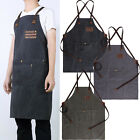 Men's Work Apron Canvas Leather Coffee Shop Apron Wear-resistant Vintage New