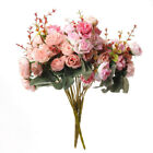 ARTIFICIAL SILK FAKE FLOWERS ROSE BUNCH BUNDLE WEDDING HOME OUTDOOR BOUQUET EA