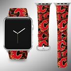Calgary Flames Apple Watch Band 38 40 42 44 mm Fabric Leather Strap 01 $29.97 USD on eBay