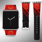 Calgary Flames Apple Watch Band 38 40 42 44 mm Fabric Leather Strap 02 $29.97 USD on eBay