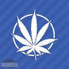 Pot Leaf With Circle Vinyl Decal Sticker Cannabis Marijuana Weed