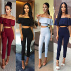 Women Two-piece Playsuit Bodysuit Romper Set Off Shoulder Crop Top Blouse Pants