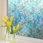 3D Static Cling Frosted Window Films Floral Stained Glass Sticker No Glue Adorn