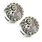 Ear Tunnels Double Flared with 3-Tone Yin and Yang Steampunk Geared Design